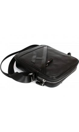 Удобная чёрная мужская сумка через плечо 7236