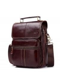 Коричневая сумка-барсетка кожаная KV0501