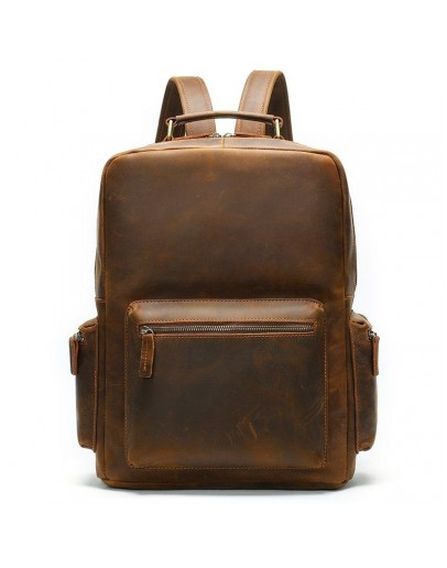 Фотография Винтажный мужской коричневый кожаный рюкзак M1847R