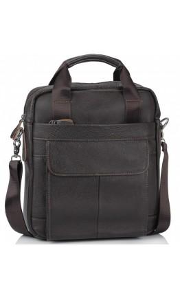 Мужская кожаная вертикальная сумка коричневая M38-8861DB