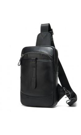 Мужская черный рюкзак на плечо - слинг M8037A
