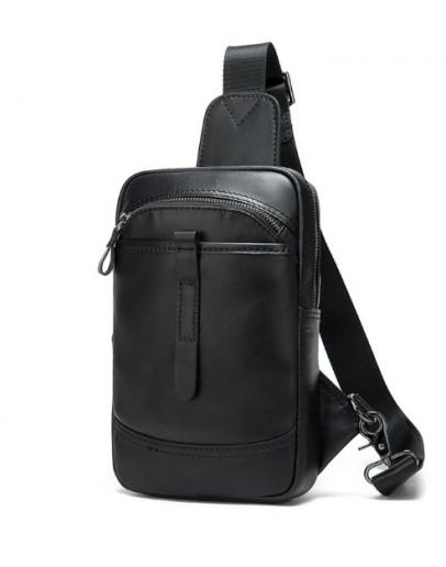 Фотография Мужская черный рюкзак на плечо - слинг M8037A
