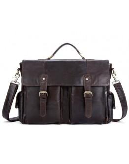 Коричневый портфель из мягкой кожи M8942C