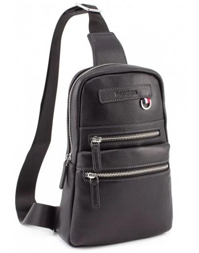 Фотография Черный кожаный рюкзак слинг Marco Coverna MD 6636 black