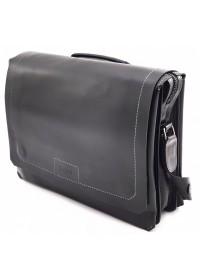Удобная горизонтальная черная кожаная сумка А4 VATTO MK106 F8KAZ1