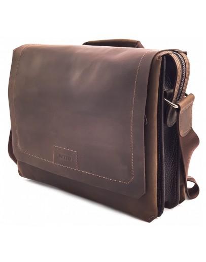 Фотография Удобная горизонтальная коричневая кожаная сумка А4 VATTO MK106 KR450