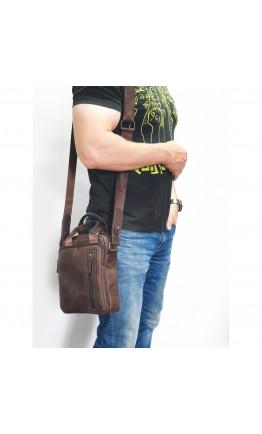 Черная сумка на плечо мужская кожаная Tarwa RA-3027-3md