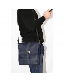 Мужская кожаная сумка синяя винтажная VATTO MK17 KR600