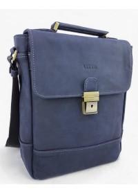 Синяя мужская винтажная кожаная сумка - барсетка VATTO MK28.2 KR600