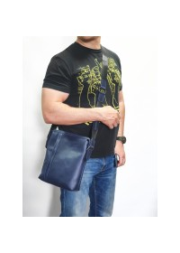 Синяя большая сумка на плечо из винтажной кожи VATTO MK79 KR600
