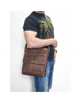 Большая коричневая кожаная винтажная сумка VATTO MK89 KR450