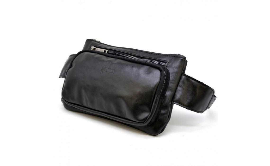 Мужская кожаная сумка на пояс  - стильная классика