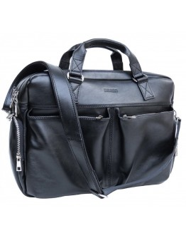 Черная кожаная деловая мужская сумка Newery N0021GA