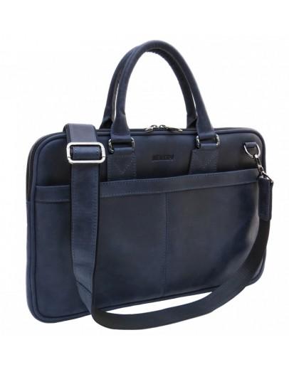 Фотография Синяя тонкая кожаная винтажная сумка Newery N1002KB