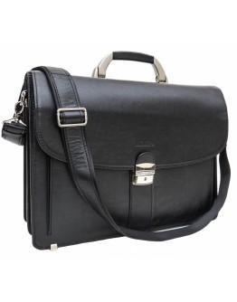 Черный кожаный мужской портфель на 2 отделения Newery N1587GA