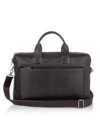 Темно-коричневая кожаная сумка под ноут и документы NEWERY N1930GC