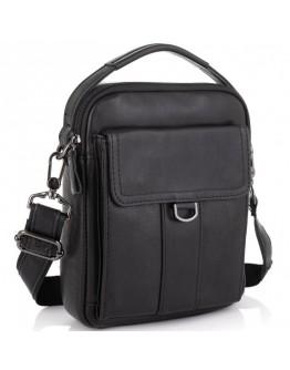 Необычная черная кожаная сумка - барсетка Tiding Bag N2-8013A