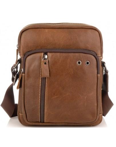 Фотография Кожаная коричневая мужская сумка на плечо Tiding Bag N2-9003B