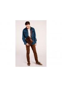 Кожаная коричневая мужская сумка на плечо Tiding Bag N2-9003B