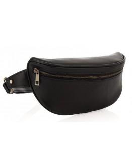 Кожаная черная сумка на пояс Newery N40298GA
