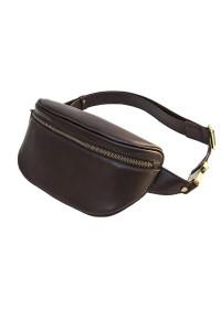 Коричневая сумка на пояс из гладкой кожи Newery N40298GC