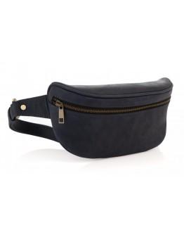 Синяя кожаная винтажная сумка на пояс Newery N40298KB