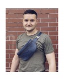 Фотография Синяя кожаная винтажная сумка на пояс Newery N40298KB