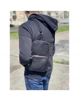 Черный кожаный мужской слинг Newery N41719FA