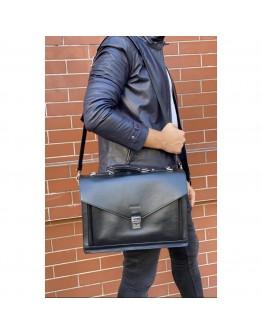 Кожаный черный вместительный мужской портфель Newery N4572NG