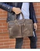 Фотография Коричневая кожаная деловая винтажная сумка Newery N6516KC
