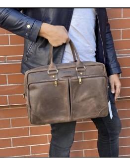 Коричневая кожаная деловая винтажная сумка Newery N6516KC