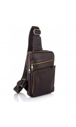 Мужская сумка на плечо - слинг коричневая Newery N6896GC