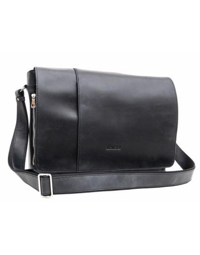 Фотография Большая винтажная черная сумка на плечо Newery N8128KA