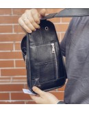 Фотография Черный винтажный кожаный мужской слинг Newery N9012KGA