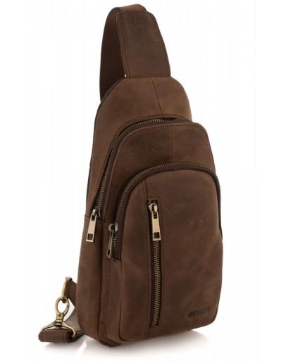 Фотография Коричневый кожаный мужской винтажный слинг Newery N9012KGC