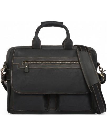 Фотография Мужская кожаная черная деловая сумка t29523A