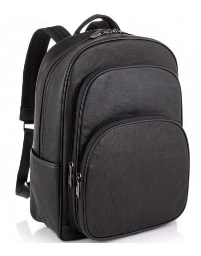 Фотография Черный кожаный вместительный рюкзак NM11-166A