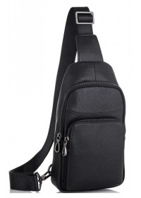 Мужской слинг черный кожаный Tiding Bag NM11-7526A