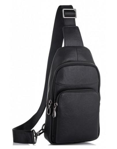 Фотография Мужской слинг черный кожаный Tiding Bag NM11-7526A