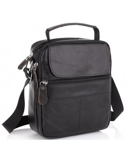 Фотография Черная мужская кожаная сумка на плечо NM20-6021A