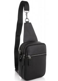 Черный мужской кожаный слинг Tiding Bag NM29-88013A