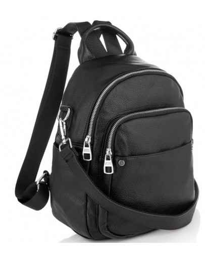 Женский рюкзак черный кожаный Olivia Leather NWBP27-8881A