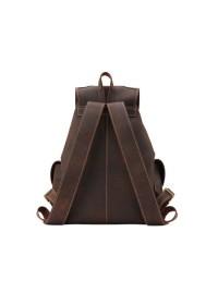 Кожаный мужской коричневый брутальный рюкзак P3165