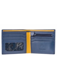 Синий кожаный кошелек Visconti PM101 Pablo c RFID (Blue Mustard)