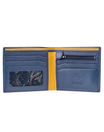 Фотография Синий кожаный кошелек Visconti PM101 Pablo c RFID (Blue Mustard)