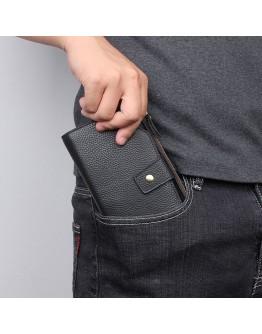 Мужской кожаный черный клатч - портмоне R-8103A