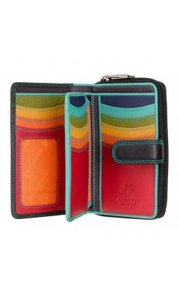 Кожаный женский кошелек Visconti R13 Carmelo c RFID (Black/Rhumba)