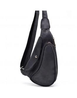 Мужской винтажный кожаный черный рюкзак на одно плечо Tarwa RA-3026-3md