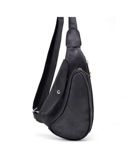 Фотография Мужской винтажный кожаный черный рюкзак на одно плечо Tarwa RA-3026-3md