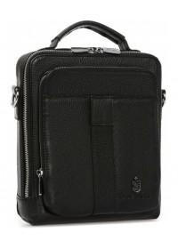 Черная кожаная мужская сумка в руку и на плечо Royal RB-009A